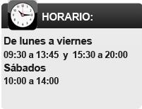 De lunes a viernes de 09:30 - 13:45 y 15:30 a 20:00 - Sabados de 10:00 a 14:00.